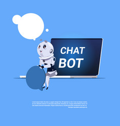 Chat bot app of technical support in laptop vector