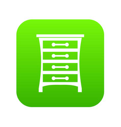 chest of drawers icon digital green vector image