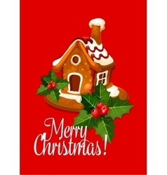 Christmas card with gingerbread house vector