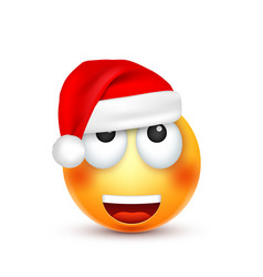 christmas hat and smiley vector image