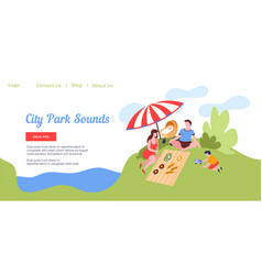 City park sounds family on picnic website page vector