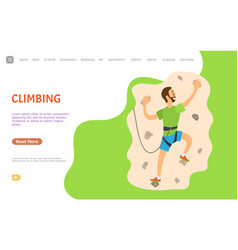 climbing man practicing person on wall with rocks vector image