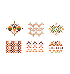 collection abstract bright geometric patterns vector image