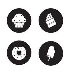 Confectionery icons set Black vector