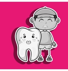 Crying cartoon boy and tooth for a toothache vector