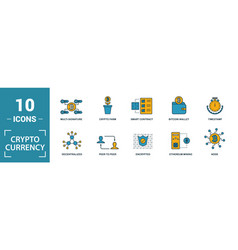 crypto currency icon set include creative vector image