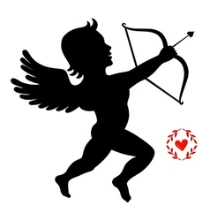 Cupid takes aim isolated on white vector image
