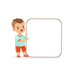 cute boy character with white square empty message vector image