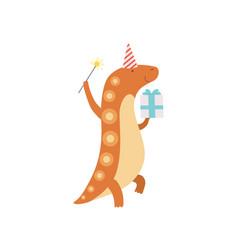 Cute dinosaur in party hat with magic wand and vector