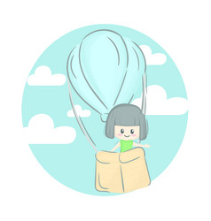 Cute girl up to sky vector