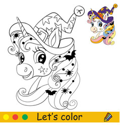 cute unicorn head in witches hat coloring book vector image