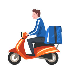 delivery man riding scooter motorcycle with blue vector image