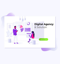 digital agency time management and office vector image