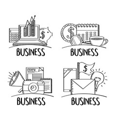 doodle set business works communication financial vector image