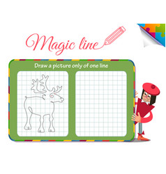 draw a picture only of one line deer vector image