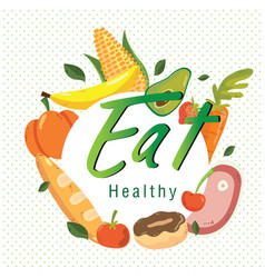 eat healthy fruit vegetable circle white backgroun vector image