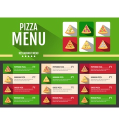 Flat style fast food pizza menu design vector image