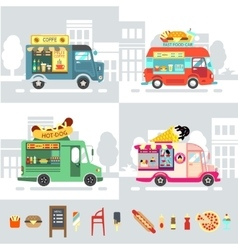 Food truck Flat design style modern vector image