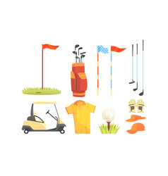 Golf sport equipment clothes and game attributes vector