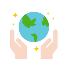 Hand and globe save the world icon flat design vector