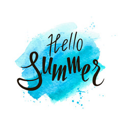 Hand drawn lettering hello summer vector