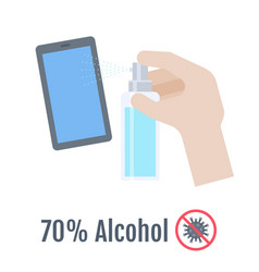 Hands with 70 percent alcohol bottle vector