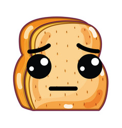 Kawaii cute sad chopped bread vector