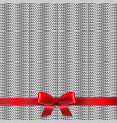 knitted background with red ribbon vector image