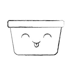 Laundry basket kawaii character vector