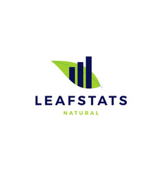 leaf stats statistics chart sprout logo icon vector image