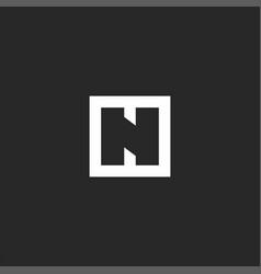 letter n logo initial mockup monogram square vector image