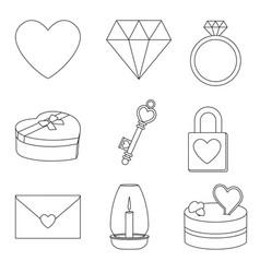 line art black and white 9 valentine elements vector image