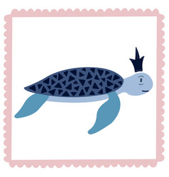 Lovely of a turtle in the crown vector