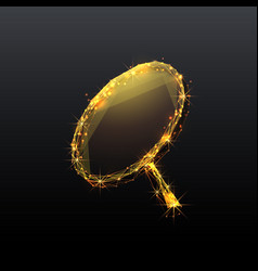 magnifying low-poly gold vector image