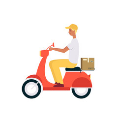 man riding scooter or motorbike and shipping brown vector image