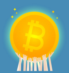 many hands hold a huge bitcoin vector image