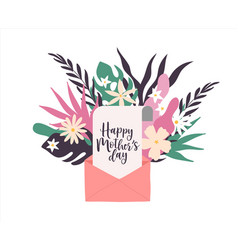 mothers day card open with mom love message vector image