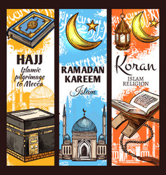 Muslim mosque ramadan lantern and islamic koran vector