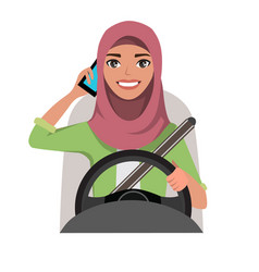 Muslim woman driving a car talking on the phone vector