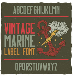 Nautical vintage label typeface vector