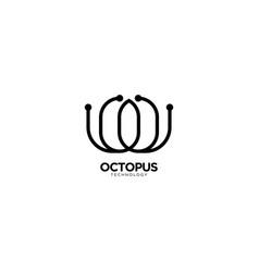 Octopus technology logo design vector