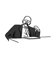old bald businessman or manager sitting on his vector image