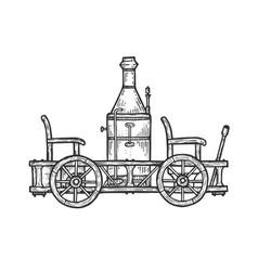 old steam car transport sketch engraving vector image