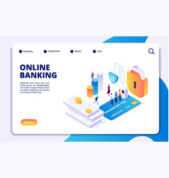 online banking isometric landing page vector image