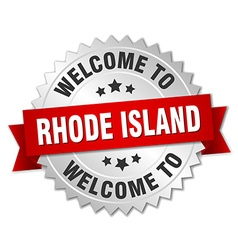 Rhode Island 3d silver badge with red ribbon vector