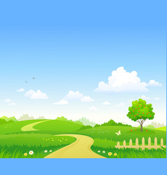 Rural summer path vector