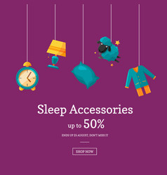 Sale background with cartoon sleep elements vector