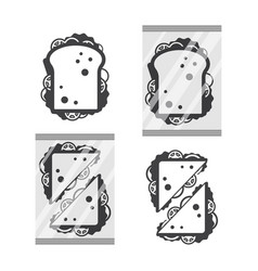 sandwiche top view in monochrome color isolated on vector image