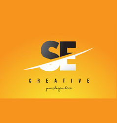 Se s e letter modern logo design with yellow vector