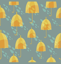 Seamless pattern with an umbrellas and rain vector